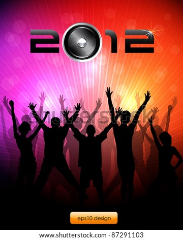 EPS10 Party People Vector Background - 2012 New Year Message - stock vector