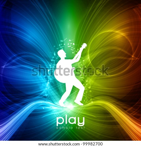 EPS10 Party People Vector Background - Young Men Plays on Guitar - stock vector