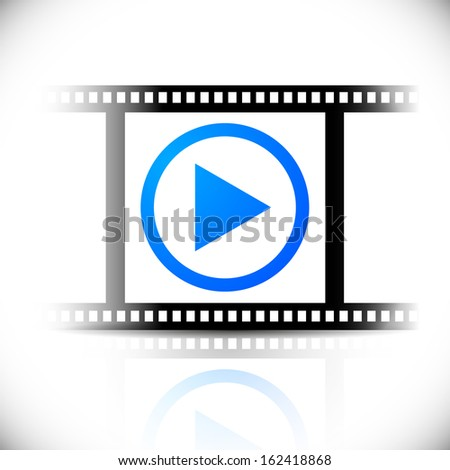 Eps10 play button on film strip. Fading reflection, right, left sides of the graphic - stock vector