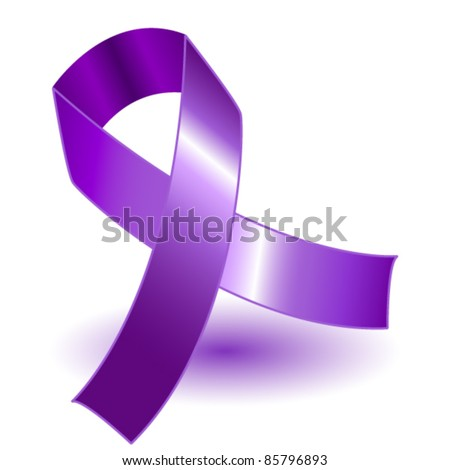 EPS 10: Purple awareness ribbon over a white background with drop shadow, simple and effective. - stock vector