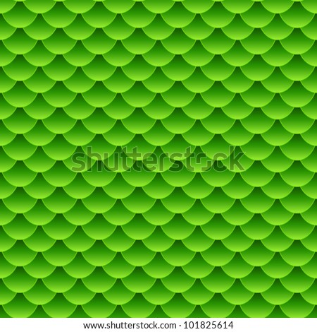 EPS 10: Seamless pattern of small colorful green fish scales forming a pattern of reptile and similar animal skin. - stock vector