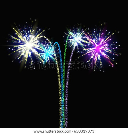 eps10. set of isolated vector fireworks on a black background.