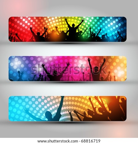 EPS10 Set of Three Headers - Party People Vector Background - Dancing Young People - stock vector