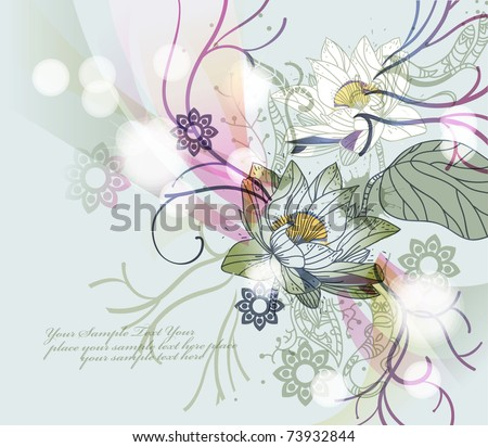 eps10 sparkling background with blooming waterlilies and fantasy plants - stock vector