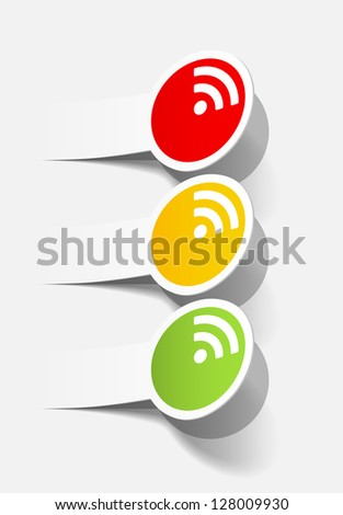 eps10, traffic lights in the form of a sticker - stock vector