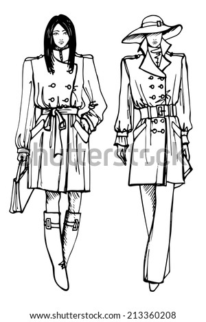 EPS10.Two stylish lovely girls.In the style of the outline hand drawing  sketch. Fashion vector  illustration - stock vector