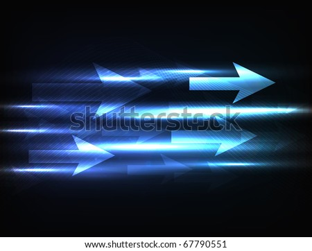 EPS10 vector abstract arrow design against dark background; composition is colored in shades of blue - stock vector