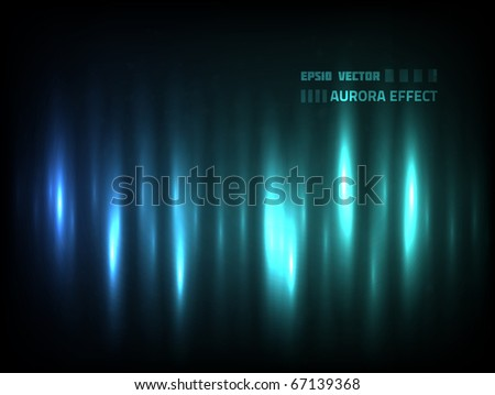 EPS10 vector abstract aurora effect for your design against dark background; composition is colored in shades of blue and green - stock vector