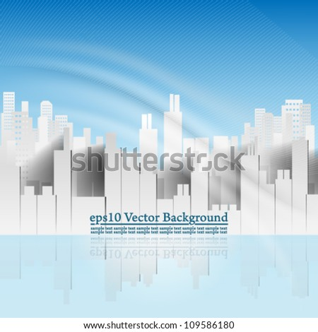 eps10 vector abstract building background with elegant wave design - stock vector
