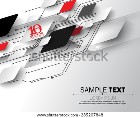 eps10 vector abstract circuit board geometric shapes overlapping science electronics elements concept background - stock vector