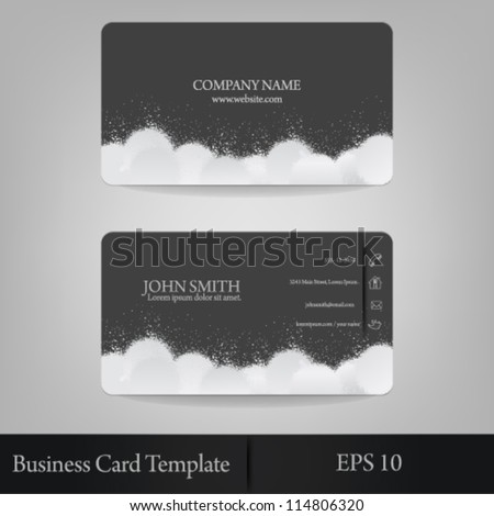 eps10 vector abstract cloud splatter business card template - stock vector