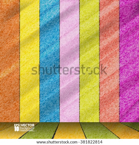 Eps10 Vector Abstract colorful wood stage background  - stock vector