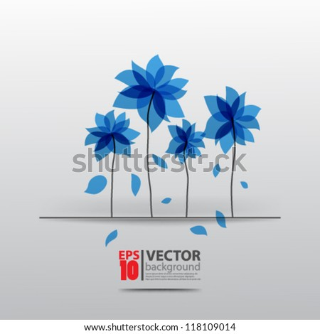 eps10 vector abstract design blue futuristic flower illustration - stock vector