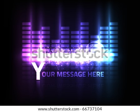 EPS10 vector abstract equalizer design on black background. Composition has bright lights and blurry bokeh particles. - stock vector