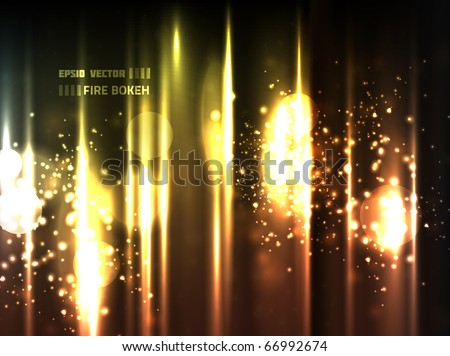 EPS10 vector abstract fire bokeh against bright background; composition is colored in shades of orange, yellow and red with a bit of other colors