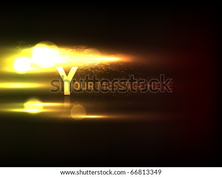 EPS10 vector abstract fire effect on black background for the text of your choice. Composition has bright lights and blurry bokeh particles. - stock vector