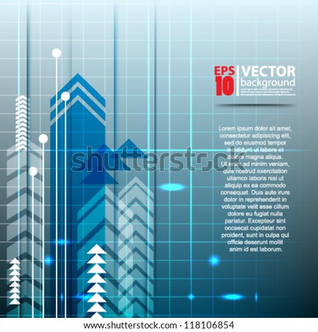 eps10 vector abstract futuristic blue with arrow background - stock vector