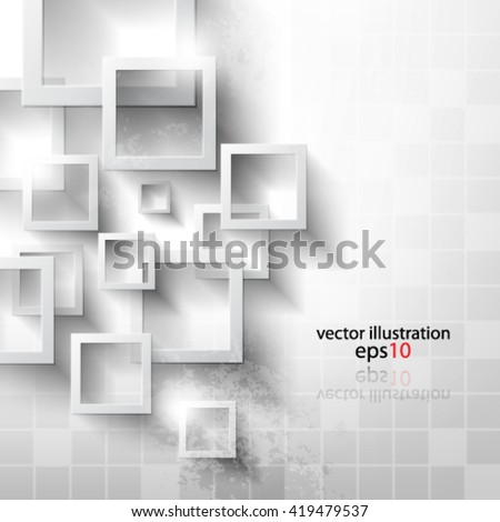 Eps 10 Vector Abstract geometric shape from gray rhombus with grunge effect