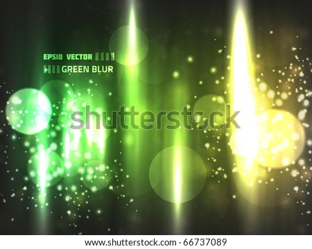 EPS10 vector abstract green blur bokeh design on dark background; colored in bright shades of green and yellow with blurry lights - stock vector