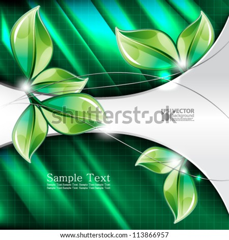 eps10 vector abstract green leaves modern design background