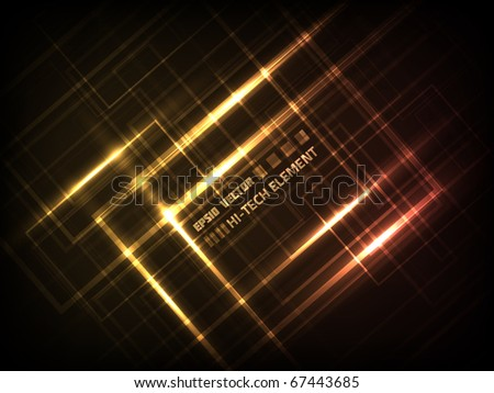 EPS10 vector abstract hi-tech element design against dark background; composition is colored in shades of orange