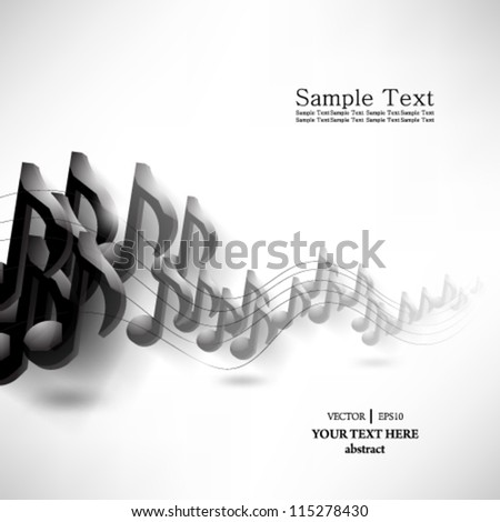 eps10 vector abstract music note background design - stock vector