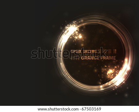 EPS10 vector abstract orange frame design against dark background with slight texture - stock vector