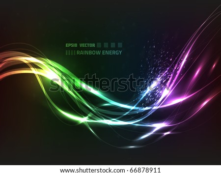 EPS10 vector abstract rainbow energy line design against dark background with slight texture; composition has bright lights and particles - stock vector