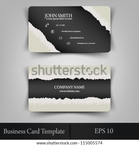 eps10 vector abstract realistic torn paper business card template concept design - stock vector