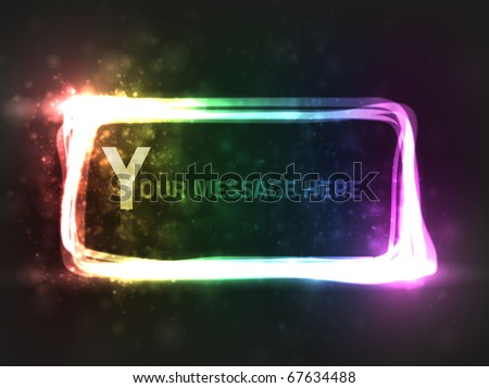 EPS10 vector abstract rectangle rainbow frame design against dark background; composition has a bright look - stock vector