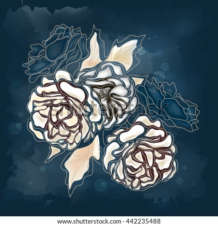 Eps10 vector - Abstract roses on a blue background - stock vector