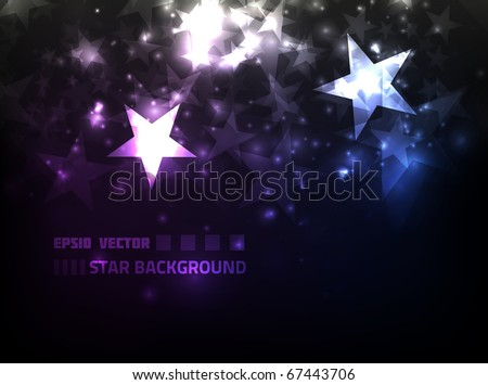 EPS10 vector abstract star background design against dark background; composition is colored in shades of violet and blue - stock vector