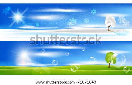 EPS 10 vector background. Summer  landscape with bubbles and winter with snowflakes. - stock vector
