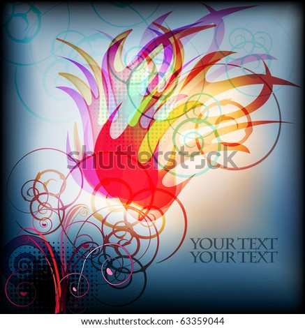 eps10 vector background with abstract burning fire - stock vector