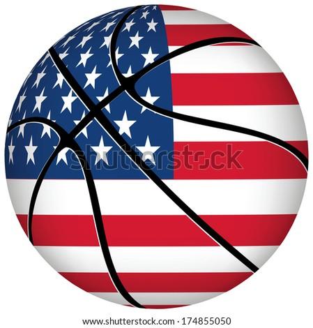 EPS 10 Vector. Basketball ball with usa flag on white. - stock vector
