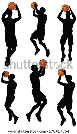 EPS 10 vector basketball players silhouette collection in shoot position