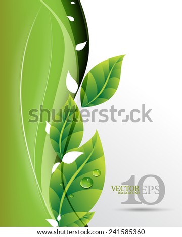 eps10 vector beautiful green leaves on waving elegant business background - stock vector