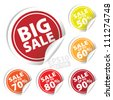 EPS10 Vector: Big Sale tags with Sale up to 50 - 90 percent text on circle tags - stock photo