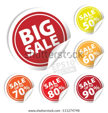 EPS10 Vector: Big Sale tags with Sale up to 50 - 90 percent text on circle tags - stock vector