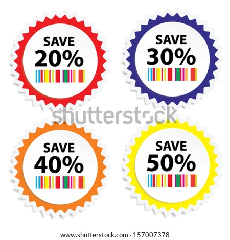 EPS10 Vector: Big Save tags with Sale up to 20 - 50 percent text on circle tags, stickers and labels. - stock vector