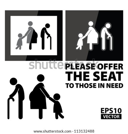 EPS10 Vector - Black Square Please offer the seat to those in need Sign - stock vector