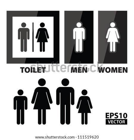 EPS10 Vector: Black Square Toilet Sign with Toilet, Men and Women text - stock vector