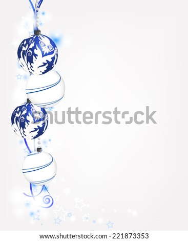 Eps10 vector - Blue and white christmas composition with space for text