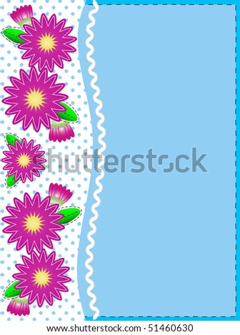 Eps10 vector.   Blue copy space with a side trim of Pink zinnias on top of polka dot background complemented by ric rac and quilting stitch accents. - stock vector