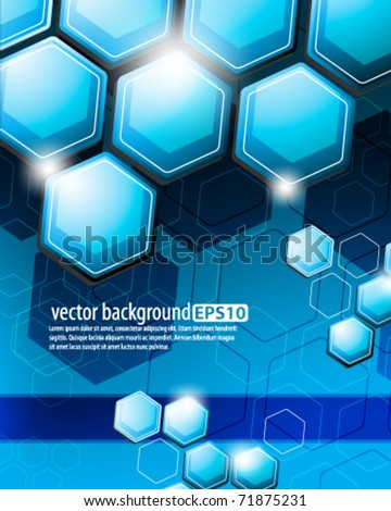 eps10 vector blue honeycomb futuristic design - stock vector