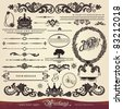 EPS 10,Vector calligraphy set: vintage style, ornate design ornaments and page decoration (creative patterns) - stock vector