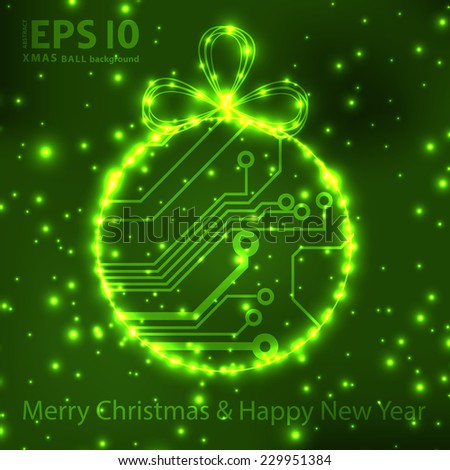 EPS10 vector circuit board ball christmas background texture  - stock vector