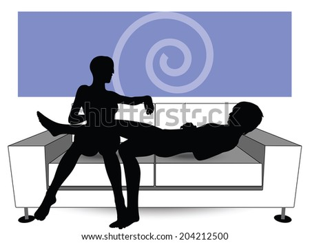 EPS Vector 10 - couple silhouette on sofa - stock vector