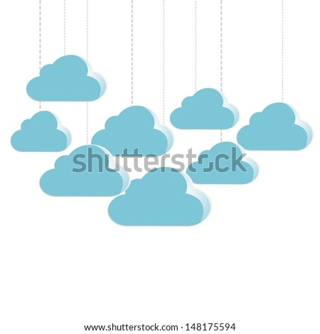 Eps10 vector : Cute blue clouds isolated on whited background