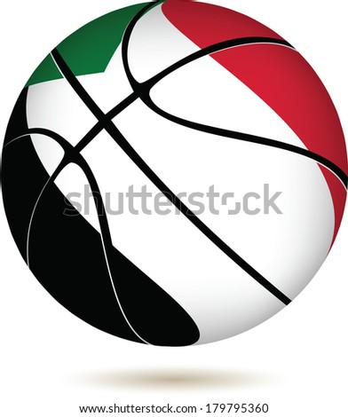 EPS 10 Vector. 3D basket ball with Sudan flag on white - stock vector